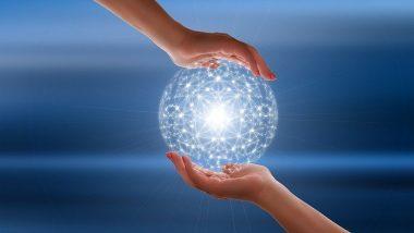 hands holding virtual world